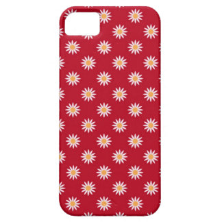 Cute White Flowers on Red Background Pattern iPhone 5 Cover