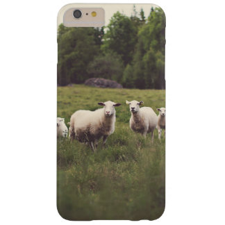Cute White Fluffy Sheep & Baby Field Trees Rocks Barely There iPhone 6 Plus Case