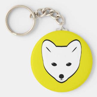 Cute White Fox Basic Round Button Keychain