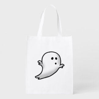 cute white ghost cartoon reusable grocery bag