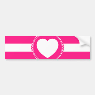 Cute White Heart in Scalloped Circle on Hot Pink Bumper Sticker