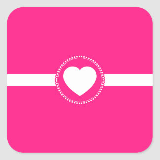 Cute White Heart in Scalloped Circle on Hot Pink Square Sticker