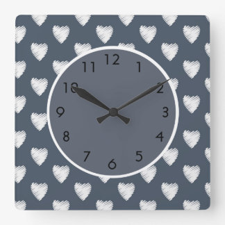 Cute White Hearts on Navy Blue Square Wall Clock