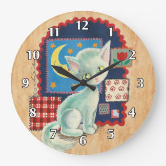Cute White Kitten and Patchwork Large Clock