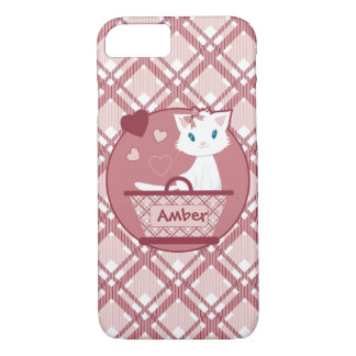 Cute white kitten in Pastel Pink Tartan Basket iPhone 7 Case