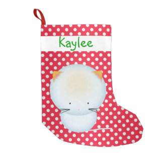 Cute White Kitten on Polka Dots Christmas Stocking