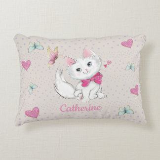 Cute White Kitten with Butterfly on pastel Accent Pillow