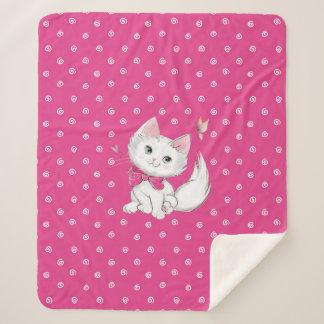 Cute White Kitten with Butterfly on Pink Sherpa Blanket