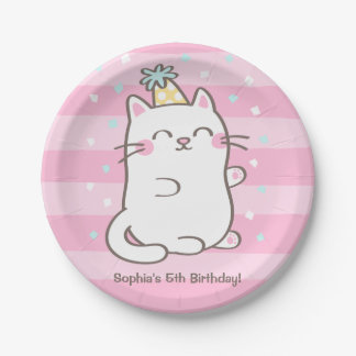 Cute White Kitty Cat Girls Birthday Party Supplies Paper Plate