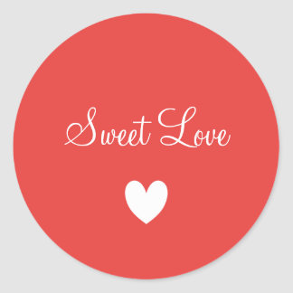 Cute White Love Heart Peachy Personalized Classic Round Sticker