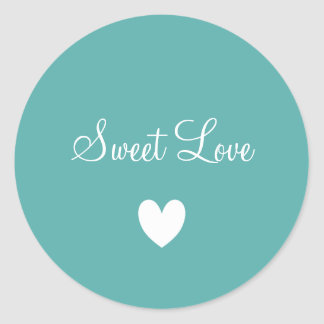 Cute White Love Heart Teal Blue Personalized Classic Round Sticker