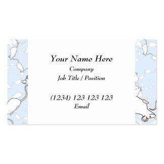 Cute White Mouse Pattern. Mice on Blue. Business Cards