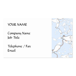 Cute White Mouse Pattern. Mice on Blue. Business Card Templates