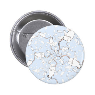 Cute White Mouse Pattern. Mice on Blue. Button