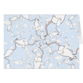 Cute White Mouse Pattern. Mice on Blue. Stationery Note Card