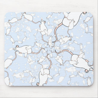 Cute White Mouse Pattern. Mice on Blue. Mousepads