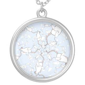 Cute White Mouse Pattern. Mice on Blue. Jewelry