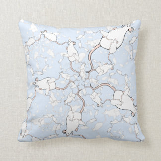 Cute White Mouse Pattern. Mice on Blue. Throw Pillows