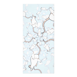 Cute White Mouse Pattern. Mice on Blue. Custom Rack Cards