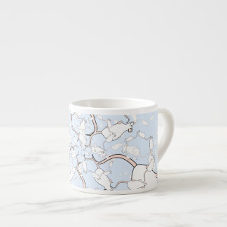 Cute White Mouse Pattern. Mice on Blue. Espresso Cup