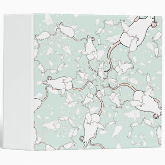 Cute White Mouse Pattern. Mice, on Green. Binders