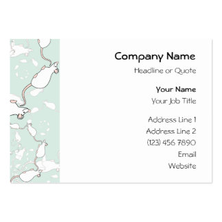 Cute White Mouse Pattern. Mice, on Green. Business Card Templates