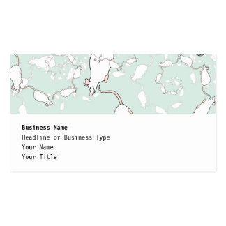 Cute White Mouse Pattern. Mice, on Green. Double-Sided Standard Business Cards (Pack Of 100)