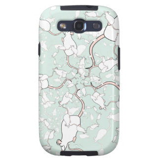 Cute White Mouse Pattern. Mice, on Green. Samsung Galaxy SIII Cases
