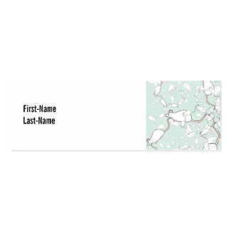 Cute White Mouse Pattern. Mice, on Green. Mini Business Card