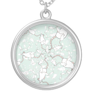 Cute White Mouse Pattern. Mice, on Green. Necklace