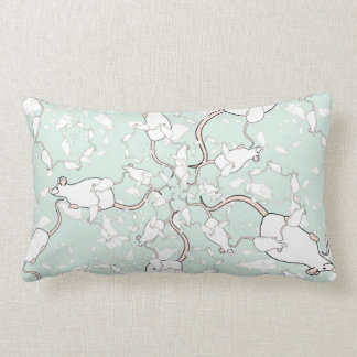 Cute White Mouse Pattern. Mice, on Green. Pillow
