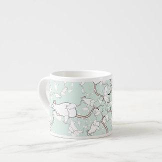 Cute White Mouse Pattern. Mice, on Green. Espresso Mug