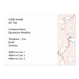 Cute White Mouse Pattern. Mice on Pink. Business Card Templates