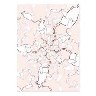 Cute White Mouse Pattern. Mice on Pink. Business Card Template