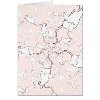 Cute White Mouse Pattern. Mice on Pink. Greeting Cards
