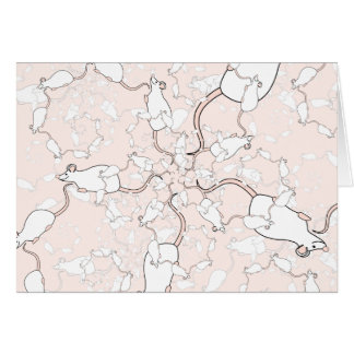 Cute White Mouse Pattern. Mice on Pink. Greeting Card