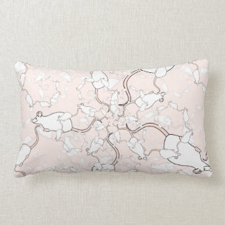Cute White Mouse Pattern. Mice on Pink. Throw Pillows