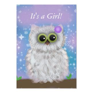 Cute White Owl Winter Girl Snowflake Shower Invite