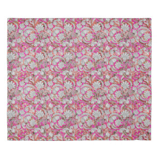Cute white pink paisley patterns duvet cover