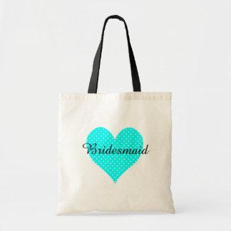 Cute White Polka Dot Aqua Heart Bridesmaid Tote Bag
