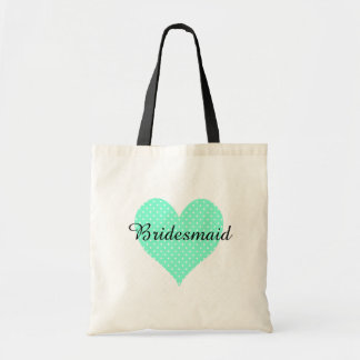 Cute White Polka Dot Aquamarine Heart Bridesmaid Budget Tote Bag