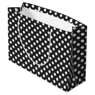Cute White Polka Dots with Dark Gray Background Large Gift Bag