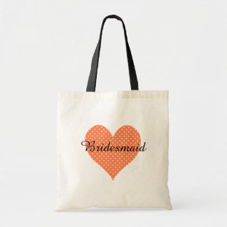 Cute White Polka Dotted Coral Heart Bridesmaid Budget Tote Bag
