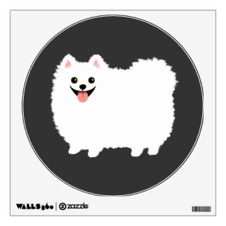 Cute White Pomeranian Cartoon Dog Wall Decal