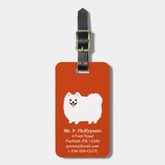 Cute White Pomeranian with Customizable Text Luggage Tag