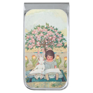 Cute White Rabbit and Young Girl Learn to ReadWand Silver Finish Money Clip
