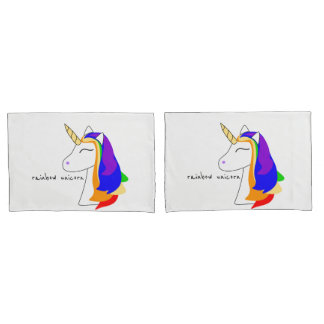 Cute White Rainbow unicorn head red pillowcase