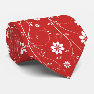 Cute White & Red Delicate Floral Pattern Tie