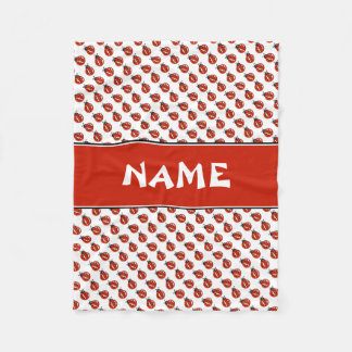 Cute White & Red Ladybugs Custom Name Kids Blanket