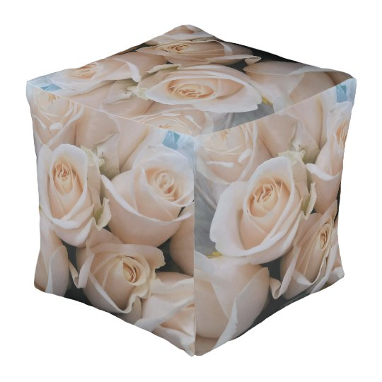 Cute White Roses Picture Cube Shape Pouf for Her